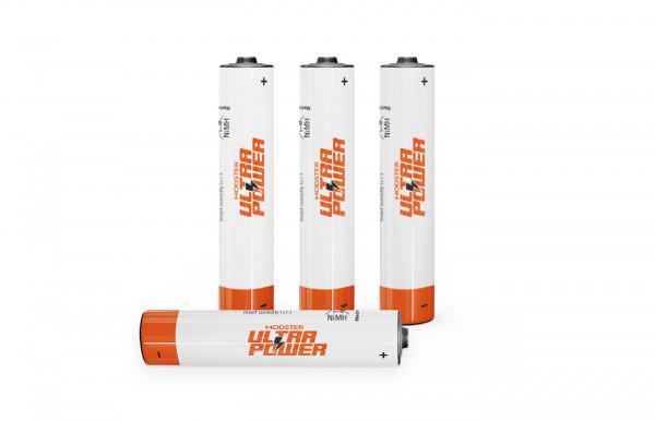 wiederaufladbare Batterie MODSTER Ultra Power AAA Micro 900mAh (4 Stück) rechargeable NiMH