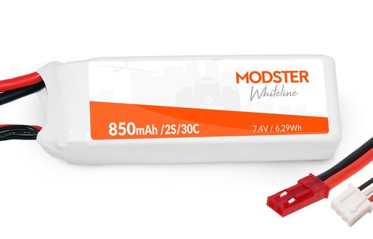 LiPo Pack 2S 7,4V 850 mAh 30C (JST) MODSTER WhiteLine