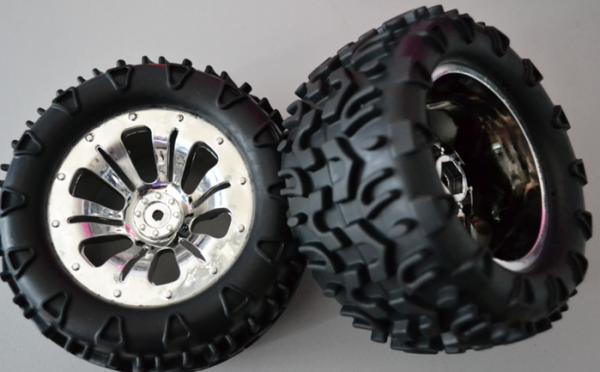 MODSTER Reifen/Felgen 1/10 Chrom MT 2 Stück