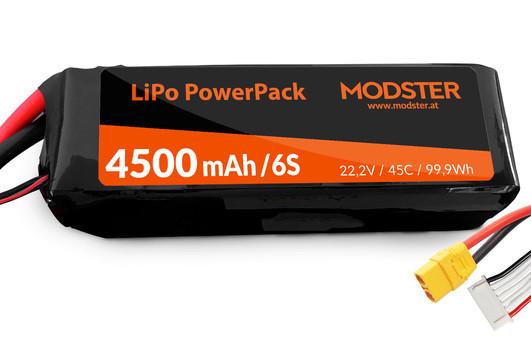 LiPo Pack 6S 22,2V 4500 mAh 45C (XT90) MODSTER PowerPack